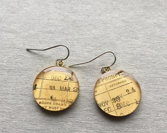 Vintage Library Book Card Brass Cabochon Dangle Earrings