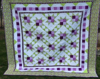 Queen quilt in great summer colors of green and purple