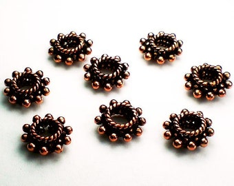 12mm Genuine Copper Beads Solid Copper Spacer Beads Large Hole Bead 8 pcs. GC-344
