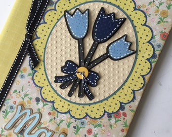 PERSONALIZED Composition Book - blue flowers