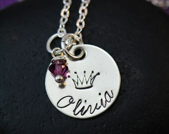 Princess Necklace - Crown Necklace - Little Girls Necklace - Princess Jewelry - Theme Party Favor - Birthday Gift