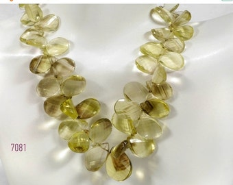 ON SALE Bi-color Lemon and Smoky Quartz Beads Briolettes Pears Large Step Faceted Twisted Flat Teardrops Earth Mined - 12x7 to 18x11
