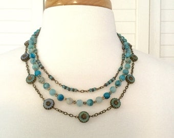 N148 Aqua Three-Strand Necklace