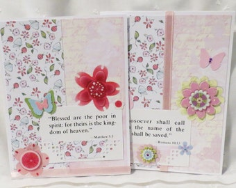 Scripture Verse Note Cards Handmade Set of 12, Flowers and Butterflies, Bible Verses, Pan Pals, Letter Writing, Green, Purple, Pink