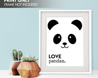 LOVE PANDAS - Art Print (Featured in Black) Love Animals Art Print and Poster Collection