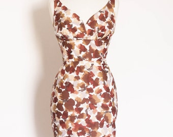 Burgundy Ink Spot Sweetheart Pencil Dress - Made by Dig For Victory