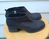 Black leather ankle boots - sz. 8 / 8.5