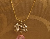 Antique Bow With Pink Crystal Drop Necklace