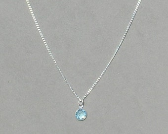 March Birthstone- Aquamarine Drop Necklace