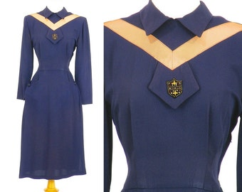 40s Dress, Vintage 1940s Rayon Dress, 40s Navy Blue Day Dress with Beaded Applique & Apricot Ribbon Work, Small