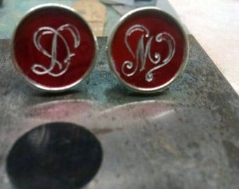 Silver cuff links, Hand Engraved design, Heavyweight Sterling Silver, Bezel Cufflinks with heart inspired initial