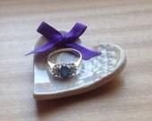 Ceramic pottery Ring Plate, grey purple Dish, Wedding Ring Plate, Wedding Gift