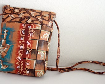 Handpainted Genuine Leather Sling Mini Bag, shoulder Bag, Crossbody bag