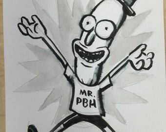 Lukas Ketner sketchcard of Mr. Poopybutthole from Rick & Morty