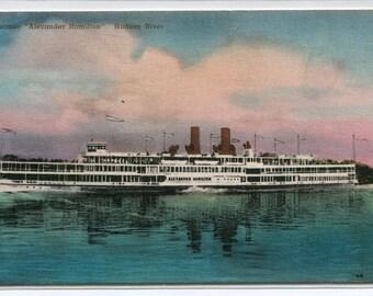 Steamer Ship Alexander Hamilton Hudson River New York hand colored postcard