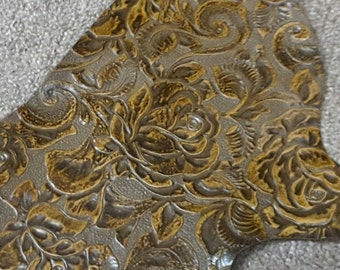 PREM21.  Golden Brown Embossed Floral Leather Cowhide