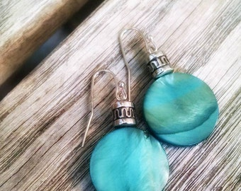 Mother of Pearl blue sea green iridescent circle medallion silver drop earrings nautical beach summer spring