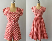 RESERVED LISTING -- Vintage 1950s Romper and Skirt Set - 50s Red Gingham Check Playsuit Set