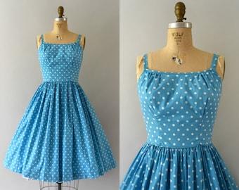 Vintage 1950s Dress - 50s Turqoise Polkadot Cotton Sundress