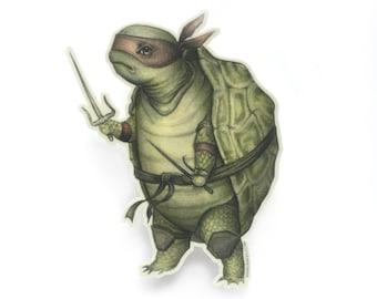 Ninja Tortoise - vinyl silkscreen sticker - by Mab Graves - TMNT Ninja Turtle decal