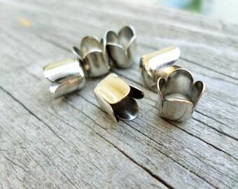 Silver Bead Caps 8mm x 6mm 12 Pcs