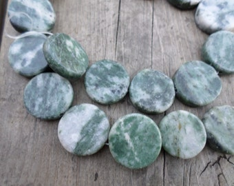 Green Marble Flat Coin 22mm 15 Inch Strand