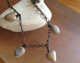 BeachStone Necklace, Sterling Silver and 5 beach stones OOAK