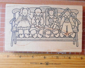Primitive Dolls on a Bench Rubber Stamp 1968