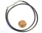 1 cord chain - 17 - 18 inches adjustable black waxed cord necklace chain supplies - MG008