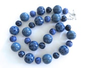 Kazuri Beaded Necklace, Ceramic Necklace,  Fair Trade, Denim Blue Ceramic Necklace