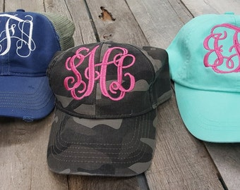 Monogrammed Pigment Dyed Baseball Caps Girls Ladies Low Profile Adams Camo Trucker