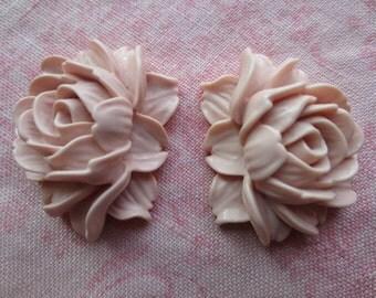 Beautiful pink rose plastic findings.  Lot of 2 roses.