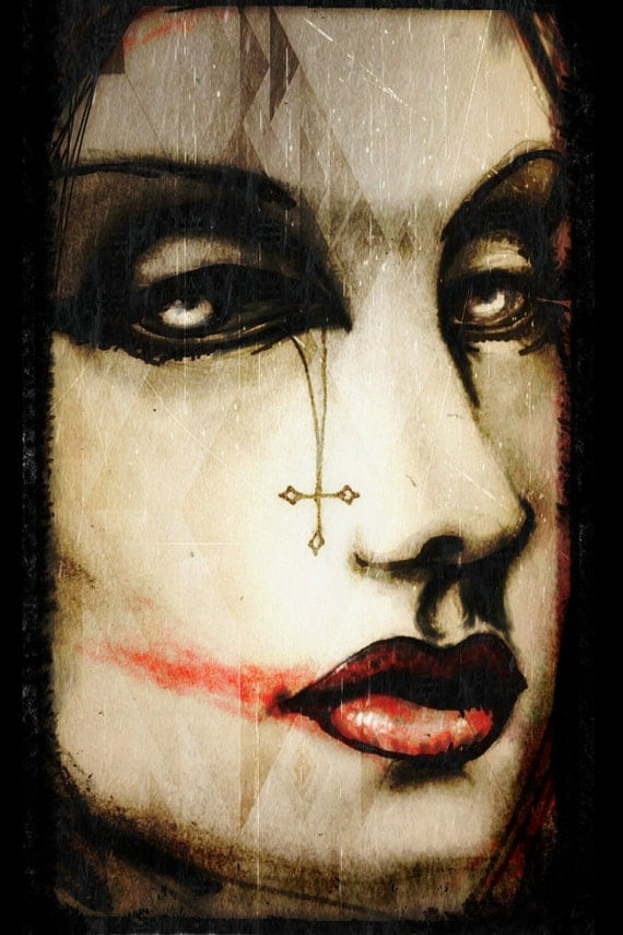 Sinner Harlequin stretched canvas print