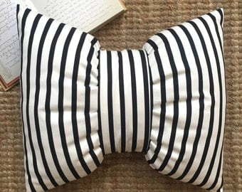 Black Stripes Big bow Pillow(insert included)