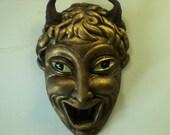Vintage Deco Bronzed Devil Ceramic Wall Sculpture