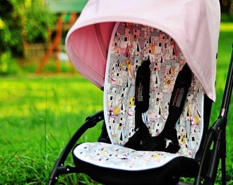 Personalized Reversible Stroller Pad Liner - - Bugaboo Bee plus - - Bee3 - Made to Order - - -