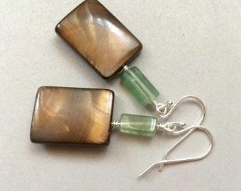 Geometric Stone Earrings, Brown Earrings, Green Earrings, Moss Agate Earrings, MOP Earrings, Sterling Earrings