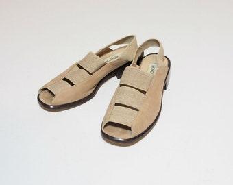 Vintage Tan Strappy Modern Minimilistic Sling Back Sandals Size 6.5
