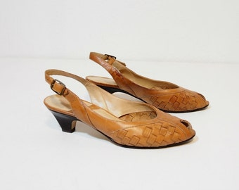 Tan Woven Leather Sling Back Heels Size 7.5