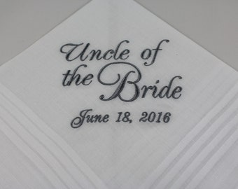 Uncle of the Bride - Embroidered Handkerchief - Wedding Gift - Simply Sweet Hankies