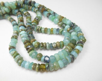 Gemstone Beads, Peruvian Green Opal Rondelles, Faceted,Spacer  Beads 5x3-4mm , 24pcs
