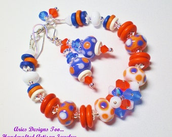 Orange, White and Blue Dotted Lampwork Bracelet and Earrings Set,Bright Summer Lampwork Bracelet Set