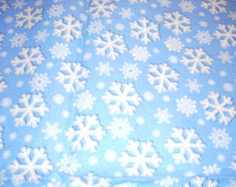 """White snowflakes on medium blue - Jolly Snowflake - cotton fabric -  44"""" wide - sold by the yard"""