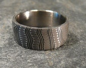 Reserved for Shelly-Two Damascus Stainless Steel Ring  Pattern, Wedding Band Hand Made