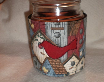 Candle Cozy Quilted Cotton Candle Wrap Jar Candle Surround Birdhouses