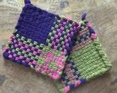 Woven Potholders -Cotton Potholders - Purple Pink and Green Hot Pad - David's Potholders - Cotton Trivet - Handmade -B- Set of 2