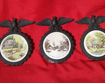 Three Currier and Ives Colonial Wall Hangings
