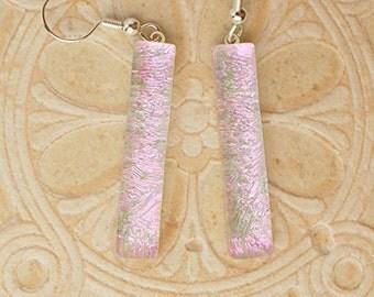 Pink Violet Dichroic Earrings - DGE 386