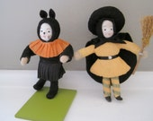 Vintage Halloween Cat and Halloween Witch Hand Made Hand Painted Seasons of Cannon Falls Felt and Paper