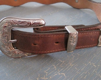 DUNDEE Western Leather Belt with Silver Buckle and silver embelleshments 34 inch